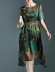 Women's Simple Print Swing Dress,Round Neck Knee-length Polyester