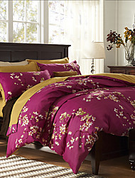4PC Duvet Cover Set Polyester Floral Pattern Queen Size
