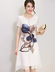 Women's Street chic Print Plus Size / Loose Dress,Round Neck Knee-length Silk / Polyester