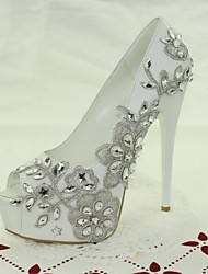 Women's Shoes Glitter / Customized Materials Stiletto Heel Peep Toe Sandals Wedding / Party & Evening / Dress White