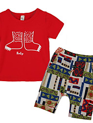 Boy's Polyester Clothing Set,Summer Print