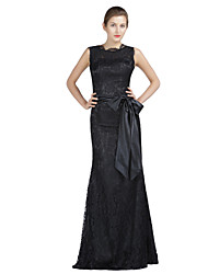 Trumpet/Mermaid Mother of the Bride Dress-Black Floor-length Lace / Charmeuse