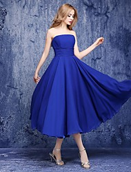Lanting Bride® Ankle-length Chiffon Bridesmaid Dress - A-line Strapless with