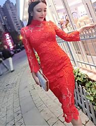 De las mujeres Vaina Vestido Simple Un Color Midi Escote Chino Poliéster