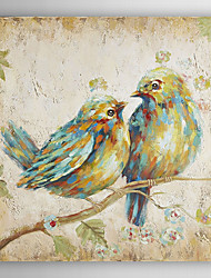 pássaros subtis óleo pintados à mão animais pintura com moldura esticada
