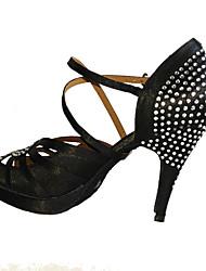 Non Customizable Women's Dance Shoes Latin / Salsa / Samba / swing / Satin Stiletto Heel Black