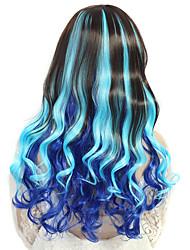 24-дюймовые женщины длинные вьющиеся глубокая волна синтетических волос парик темно-синий голубой 2 тон с свободной волос сети