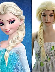 24 donne pollici lungo rettilineo parrucca sintetica capelli cosplay treccia Elsa beige