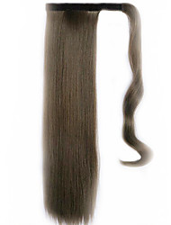 Black Chocolate 60CM Synthetic High Temperature Wire Wig Straight Hair Ponytail Color 8A