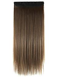 cabelos lisos extensão do cabelo sintético peruca de linho brown60cm comprimento do fio de alta temperatura