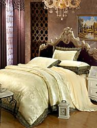 Floral Define capa de edredão 4 Peças Algodão / Modal / Tencel Luxuoso Jacquard Algodão / Modal / Tencel Queen / King1pç Capa de Edredon