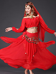 Belly Dance Outfits Women's Performance Chiffon Gold Coins / Sequins 4 Pieces Light Blue / Red / Yellow Belly Dance Long Sleeve Dropped