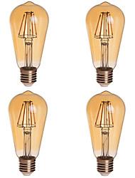 4W E26/E27 LED Globe Bulbs ST64 4 COB 380 lm Warm White Dimmable  Decorative AC 85-265 V 4 pcs