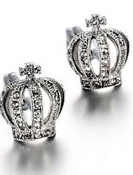 Men's Fashion Crown Crystal Silver Alloy French Shirt Cufflinks (1-Pair)