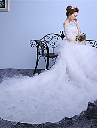 Ball Gown Wedding Dress-White Cathedral Train Off-the-shoulder Lace / Satin / Tulle