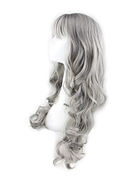 Women Long Granny Grey Body Wave Synthetic Hair Wigs Side Bang with Free Hair Net