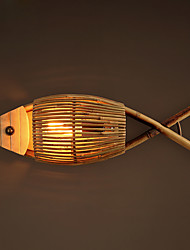 Loft Retro Fish Wall Lamp with Metal Base and Wooden Shade Wall Lamp for the Corridor / Bedroom Decorate Wall Lamp