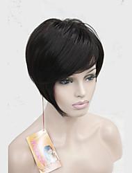 High Quality Heat Resistance Synthetic Fiber Asymmetrical Tilted Bangs Dark BrownShort Wig