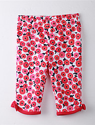 Girl's Floral Pants,Cotton Spring / Fall Red