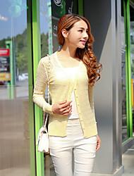 Women's Solid Blue / Yellow Cardigan,Street chic Long Sleeve