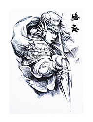 8PCS Body Art Beauty Makeup Cool Tattoo Temporary Guan Yu Hero Picture Design for Women Men Black Tattoo Sticker