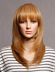 Capless Brown Color Long Length High Quality Natural Straight Synthetic Wig