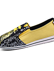 Women's Shoes Fabric Flat Heel Comfort Loafers Casual Yellow