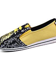 Желтый-Женская обувь-На каждый день-Ткань-На плоской подошве-Удобная обувь-Лоферы