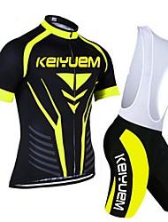KEIYUEM Cycling Jersey with Bib Shorts Women's Men's Unisex Short Sleeve Bike Jersey Padded Shorts/Chamois Bib Tights Clothing SuitsQuick