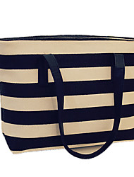 Woman Fashion Minimalist Shoulder Bag Canvas Handbag Shoulder Bag Leisure Package Travel Bag Striped Beach Bag