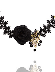 Black / White Lace  Flower Anklet Bracelet for Lady Body Jewelry Summer Beach