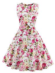 Trapèze Robe Aux femmes Sortie / Grandes Tailles Vintage,Imprimé Col Arrondi Mi-long Sans Manches Rose / Rouge / Blanc / Beige / Noir