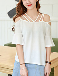 Women's Solid White / Black Loose Fashion T-shirt,Street chic/Casual Cut Out Strapless Boat Neck Short Sleeve Rayon