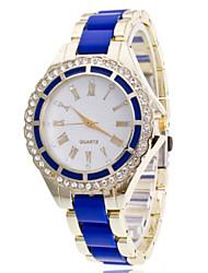 Women Steel Gold Band Analog Quartz White Crystal Case Wrist Bracelet Watch Jewelry