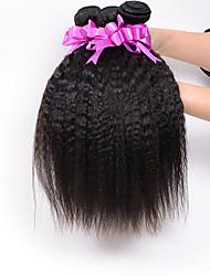 3pcs / lot 7a brazilian cheveux vierges crépus droite cheveux humains yaki brazillian cheveux raides grossiers brazilian faisceaux yaki