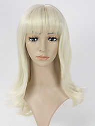 Woman's Bleach Blonde Long Straight Synthetic Lady Wigs