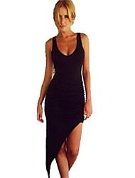 Damen Kleid - Bodycon Sexy Solide Asymmetrisch Baumwoll-Mischung Tiefes V