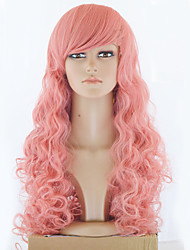 Top-Qualität langen rosa gewelltes Haar Frauen synthetische Perücke