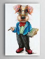 pintados à mão pintura a óleo animal um cão com um livro, com quadro esticado arts® 7 parede