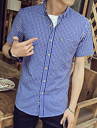 Men Tops Tees 2016 New Summer Cotton Short Sleeve T-Shirt Men's Clothing Fashion Lapel Plaid Male Casual T-Shirts