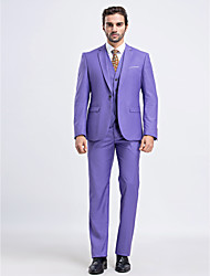 Suits Slim Fit Slim Notch Single Breasted One-button 3 Pieces Lavender Straight Flapped