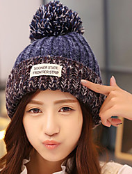 Women Casual Knitting Wool Cute Warm Stripes Colore English Alphabet Labeling Hat