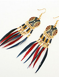 2016 New Fashion Vintage Hollow Fringed Feathers Long Paragraph Earring For Women Accessories