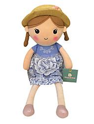 echte Frühlingsmädchen Puppe Plüschspielzeugpuppe Baby-Puppe Puppe Geschenk Mädchen Hut blauen Kleid Sitzhöhe 25 cm zu beschwichtigen