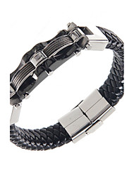 Cool Man Leather Bracelets Titanium Steel Charm Design Bangles for Men