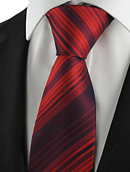 KissTies Men's Tie Necktie Burgundy Red Striped Wedding/Business/Party/Work/Casual With Gift Box