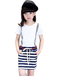Girl's Black / White Dress,Striped Cotton Summer