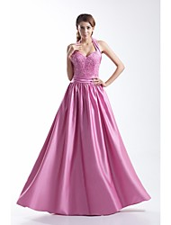 Prom Formal Evening Dress - Sparkle & Shine A-line Halter Floor-length Satin with Beading Side Draping