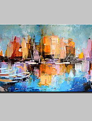 Large Hand Painted Abstract Boat Landscape Oil Painting On Canvas Wall Art With Stretched Frame Ready To Hang