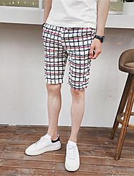 Pantaloncini Uomo Casual A quadri Nylon Bianco